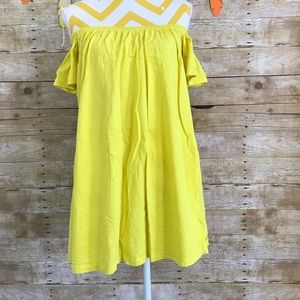 Asos yellow off shoulder dress